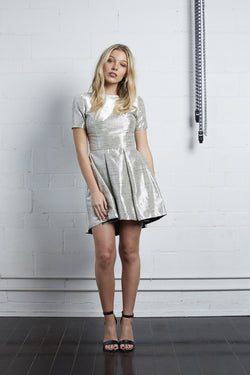 Silver Textured Mini Dress