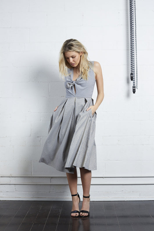 Grey and Gold Bow Dress