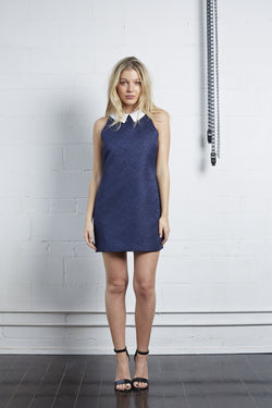 Navy Textured Mini with Collar