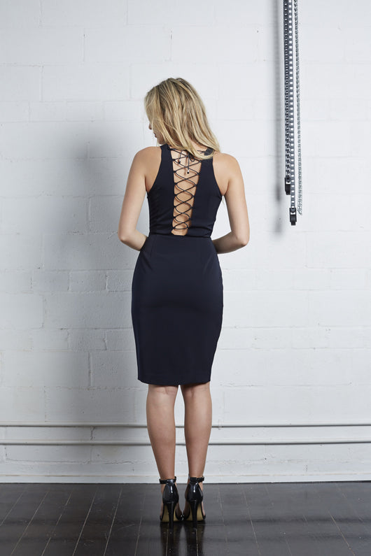 Navy Backless Dress with Slit