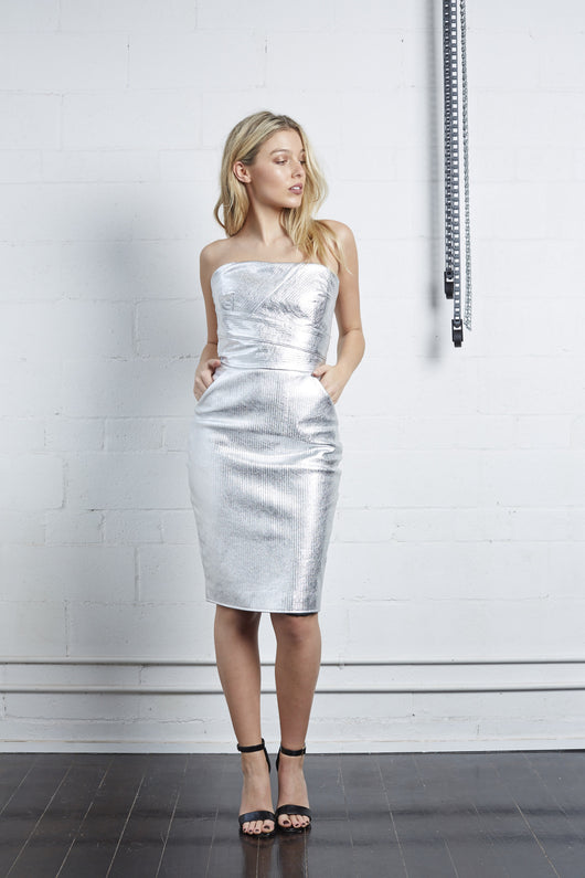 Silver Striped Leather Dress