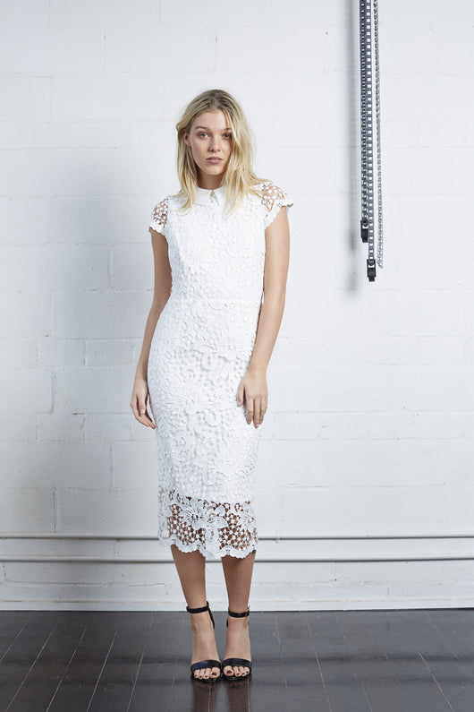 White Lace Dress with Collar