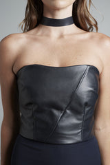 Navy Leather Bodice and Choker