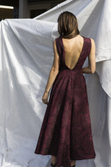 Burgundy Brocade Gown