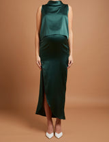 Forest Green Silk Skirt