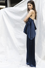 Navy Silk Jumpsuit