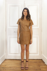 Caramel Leather Shift Dress