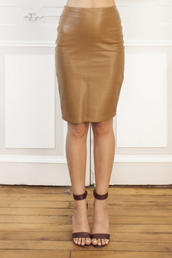 Caramel Leather Pencil Skirt