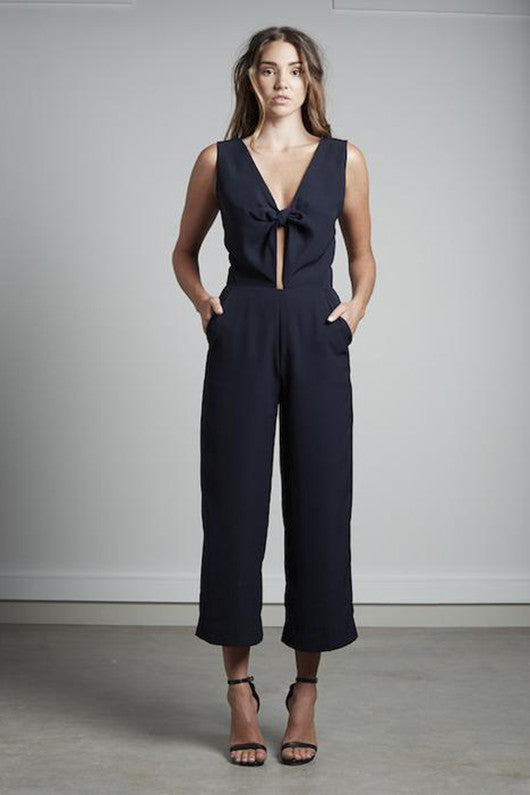 Navy Bow Jumpsuit
