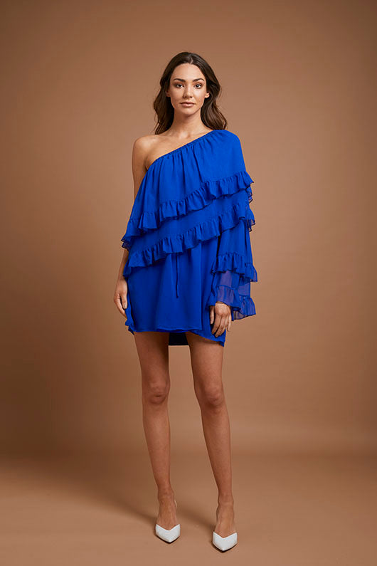 Cobalt Blue One Shoulder Dress