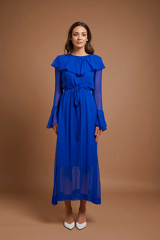 Cobalt Blue Ruffle Dress