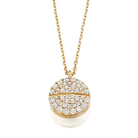 All Diamond Pavé Tablet Necklace 14K Yellow