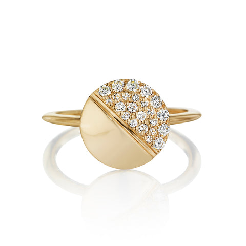Tilted Tablet Half Pavéd Ring 14K Gold (More Colors Avail)
