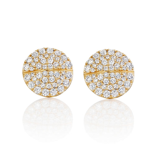All Diamond Pavé Tablet Earrings 14K Yellow