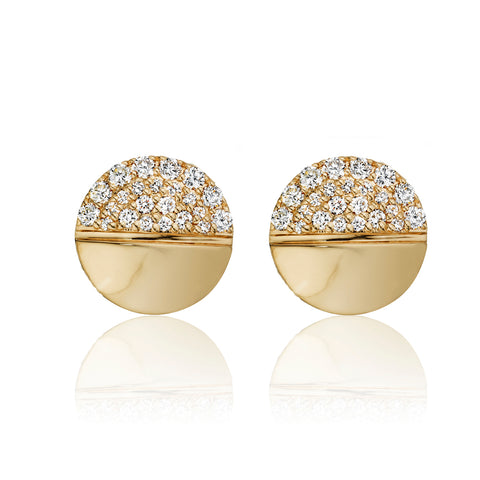 White Diamond Half Pavéd Tablet Earrings 14K Gold
