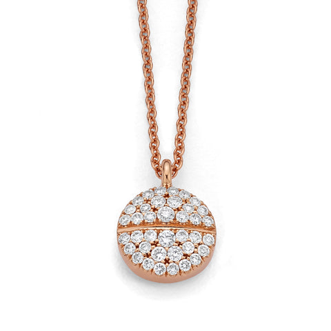 All Diamond Pavéd Tablet Necklace 14K Rose Gold