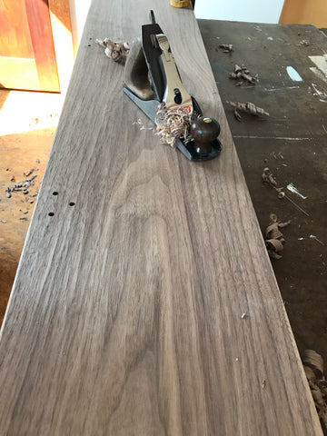 After Planing, Andy Assembled The Table Top With Tenons And Walnut Pegs.  Once The Table Was Assembled, I Applied Kunos 244 Clear With A Foam Brush.