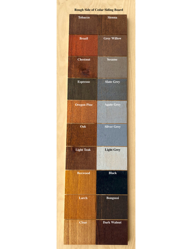 Livos Alis color chart on rough cedar