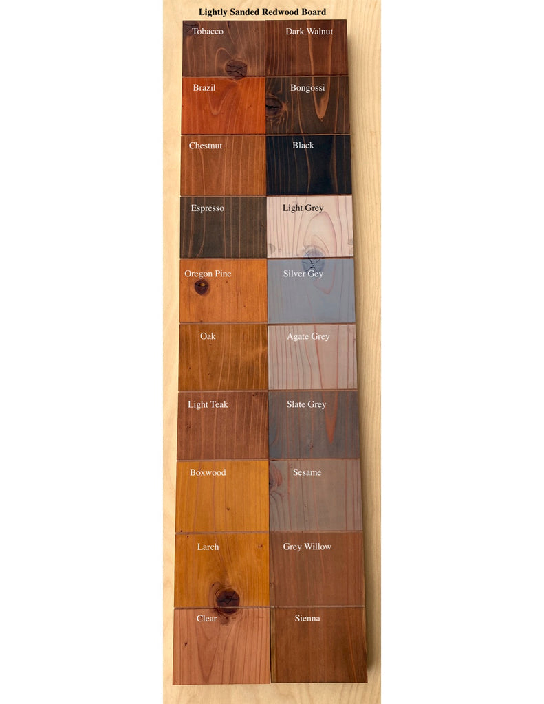 Livos Alis color chart on redwood