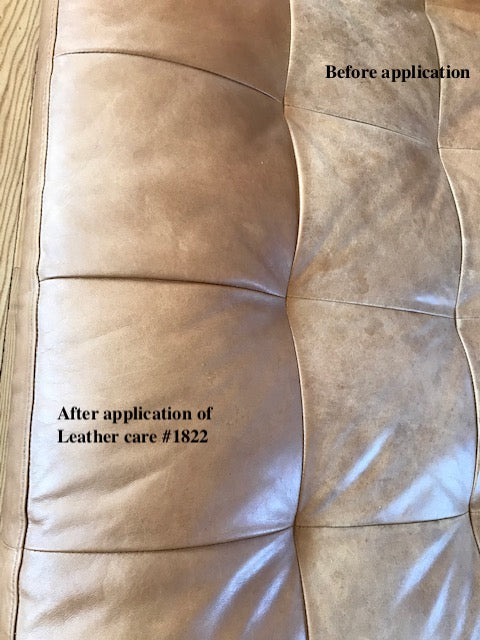Before and After using Lanja Leather Care on a sofa