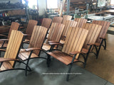 Mahogany outdoor chairs with Alis chestnut for UV protection.