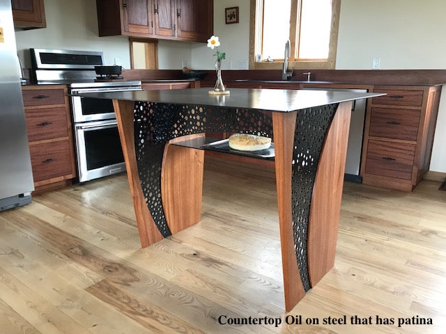 Countertop Oil on steel kitchen island