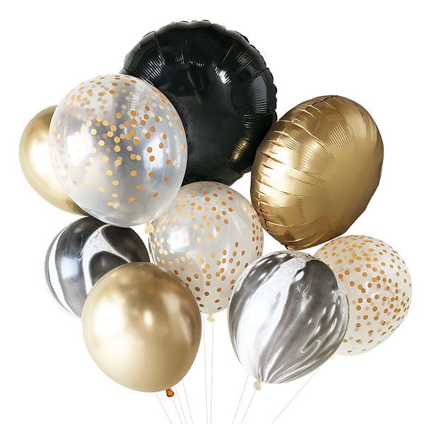 Balloon Bouquet - Black, White, and Gold