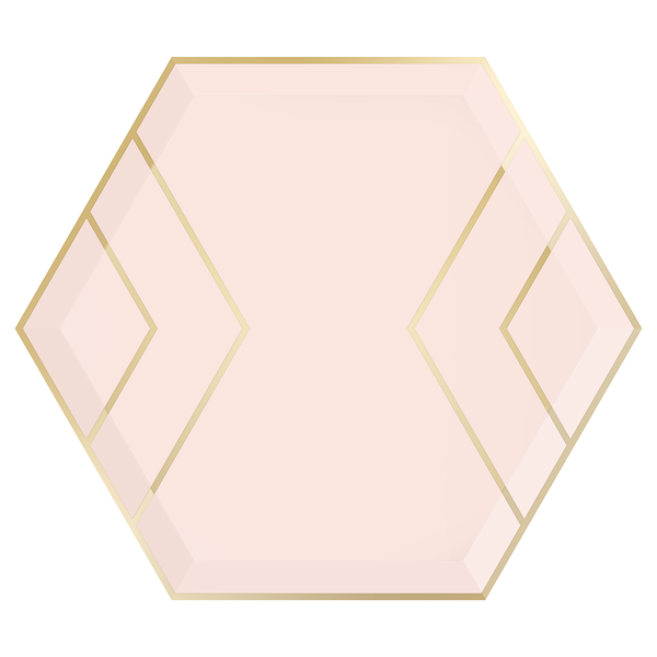 Paper Plates - Blush & Gold Hexagon - Large