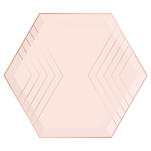 Paper Plates - Blush & Rose Gold Hexagon - Large