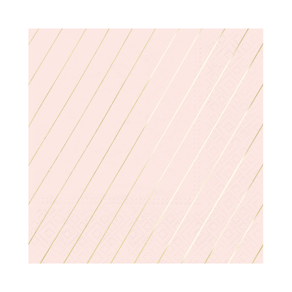 Paper Napkins - Blush & Gold Large Stripe