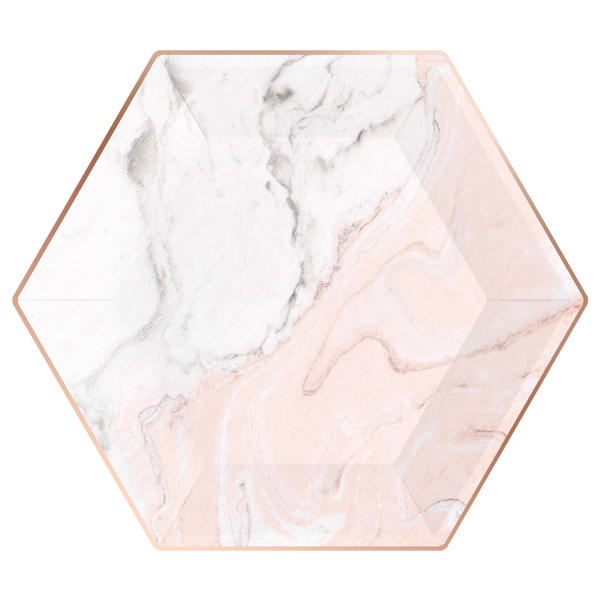 Paper Plates - Blush Marble - Large