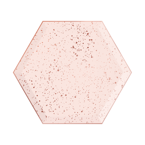 Paper Plates - Blush & Rose Gold Hexagon - Small