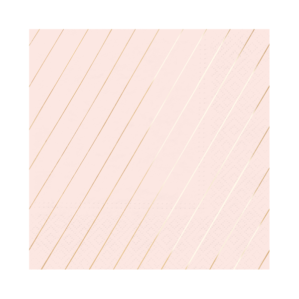 Paper Napkins - Blush & Rose Gold Large Stripe