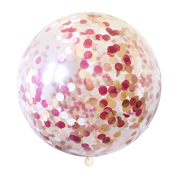 "Confetti Balloon - 36"" - Burgundy & Rose Gold"