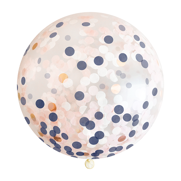"Confetti Balloon - 36"" - Navy, Blush, & Rose Gold"