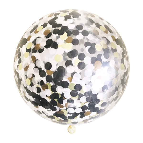 "Confetti Balloon - 36"" - Black Tie"