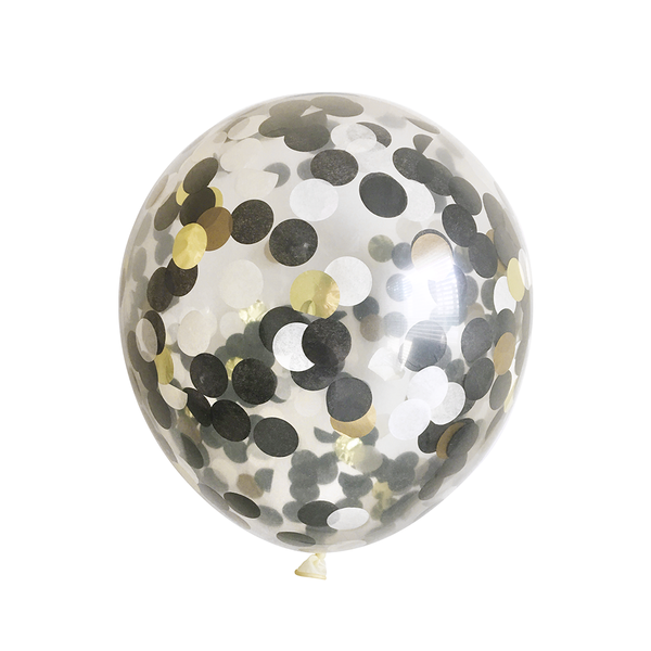 Bulk Confetti Balloons - Black, White, and Gold