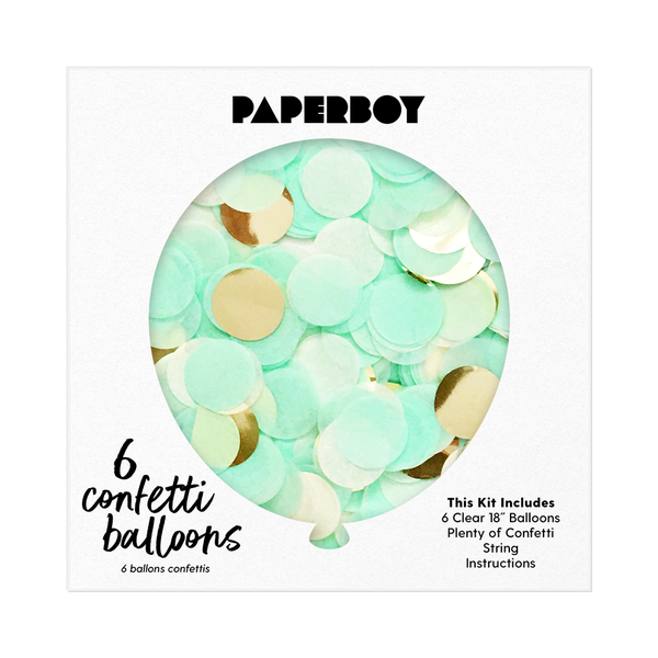 "Confetti Balloon Kit - 18"" - Mint and Gold"