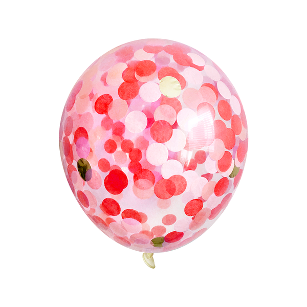 Bulk Confetti Balloons - Red & Pink