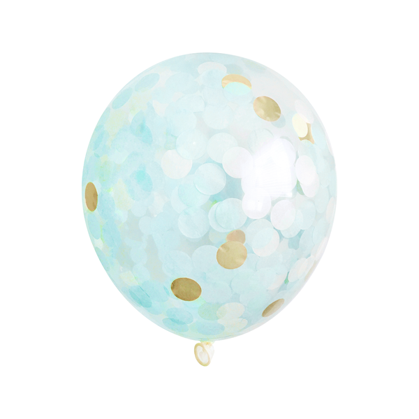 Bulk Confetti Balloons - Light Blue & Gold