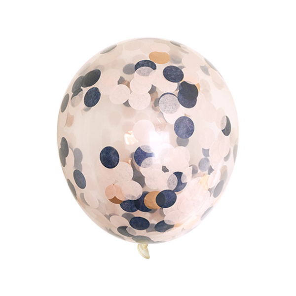 Bulk Confetti Balloons - Navy, Blush, and Rose Gold