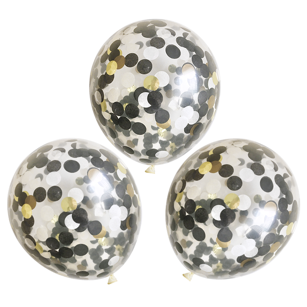"Confetti Balloons - 16"" - 3 Pack - Black, White, and Gold"