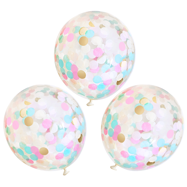 "Confetti Balloons - 16"" - 3 Pack - Gender Reveal"