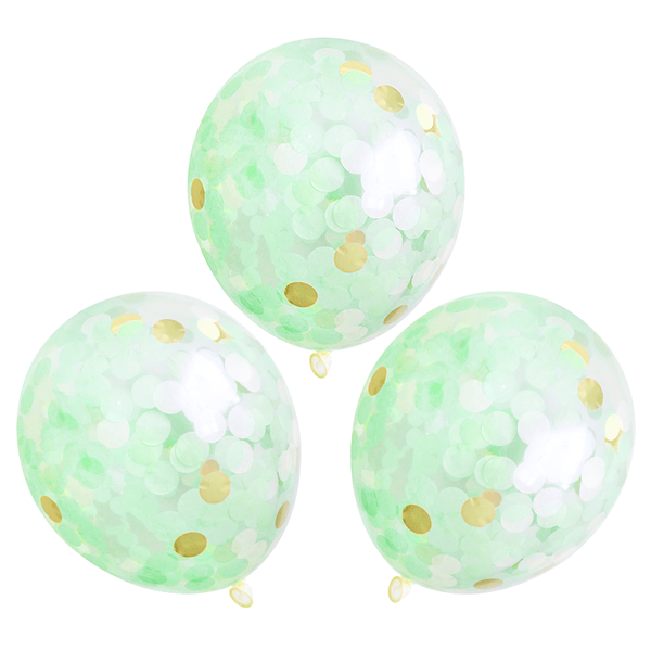 "Confetti Balloons - 16"" - 3 Pack - Mint & Gold"