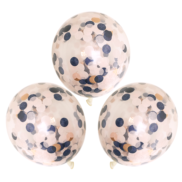 "Confetti Balloons - 16"" - 3 Pack - Navy, Blush, & Rose Gold"