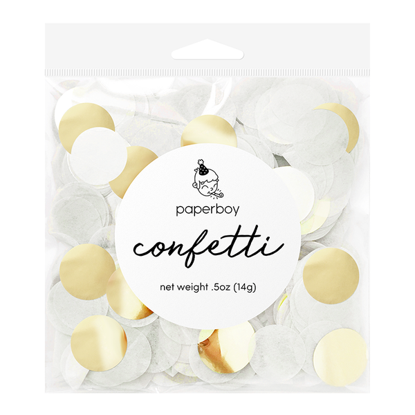 Confetti - 1/2 oz - White & Gold