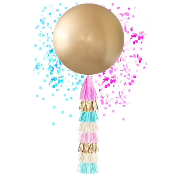 Giant Balloon with DIY Tassels - Gold Gender Reveal