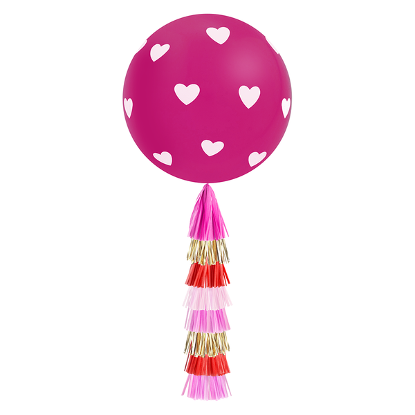 Giant Balloon with DIY Tassels - Hearts (Magenta)