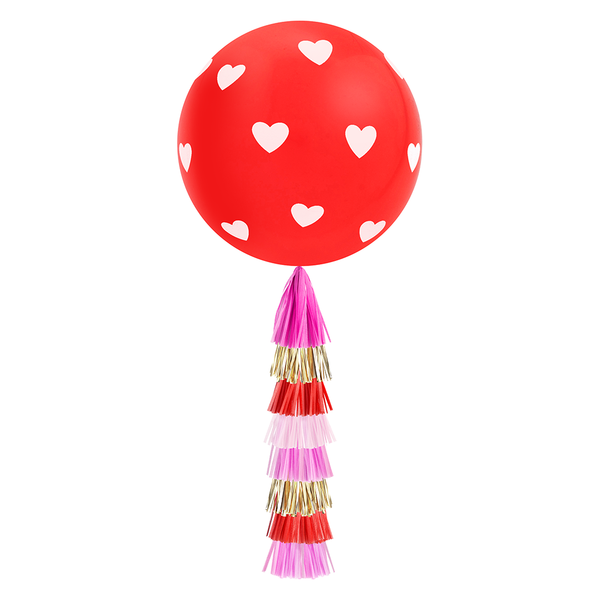 Giant Balloon with DIY Tassels - Hearts (Red)