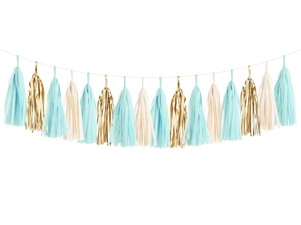 Tassel Garland DIY Kit - Light Blue & Gold